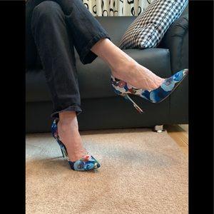 Blue floral 5inch stilettos